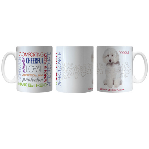 Pet Coffee Mug 11oz Poodle White