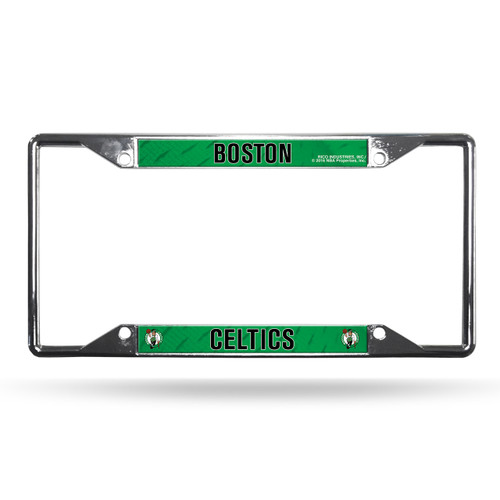 Boston Celtics License Plate Frame Chrome EZ View