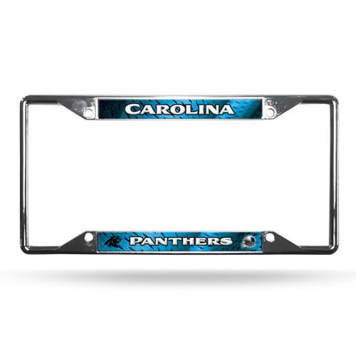 Carolina Panthers License Plate Frame Chrome EZ View