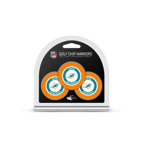 Miami Dolphins Golf Chip with Marker 3 Pack