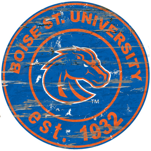 "Boise State Broncos Wood Sign - 24"" Round"