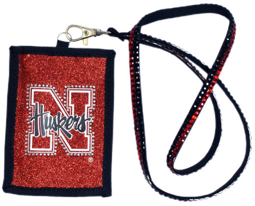 Nebraska Cornhuskers Wallet Beaded Lanyard Style Script Logo