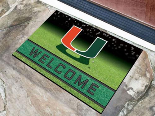 Miami Hurricanes Door Mat 18x30 Welcome Crumb Rubber
