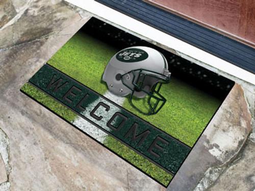New York Jets Door Mat 18x30 Welcome Crumb Rubber
