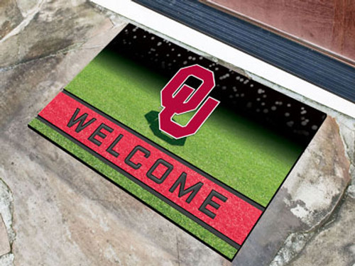 Oklahoma Sooners Door Mat 18x30 Welcome Crumb Rubber