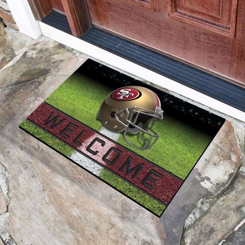 San Francisco 49ers Door Mat 18x30 Welcome Crumb Rubber