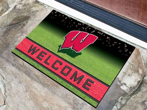 Wisconsin Badgers Door Mat 18x30 Welcome Crumb Rubber