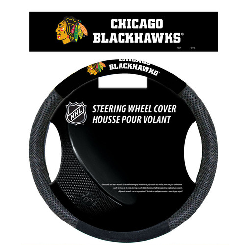 Chicago Blackhawks Steering Wheel Cover Mesh Style