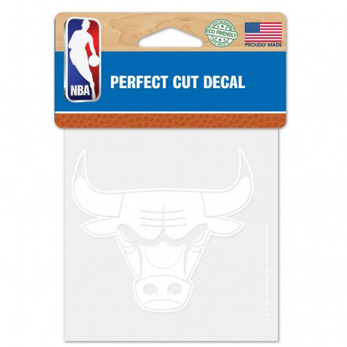 Chicago Bulls Decal 4x4 Perfect Cut White