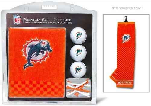 Miami Dolphins Golf Gift Set with Embroidered Towel