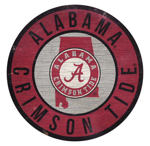 Alabama Crimson Tide Sign Wood 12 Inch Round State Design