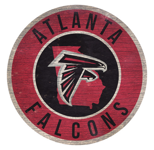 Atlanta Falcons Sign Wood 12 Inch Round State Design