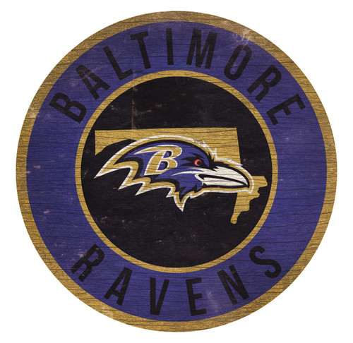 Baltimore Ravens Sign Wood 12 Inch Round State Design
