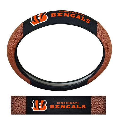 Cincinnati Bengals Steering Wheel Cover Premium Pigskin Style