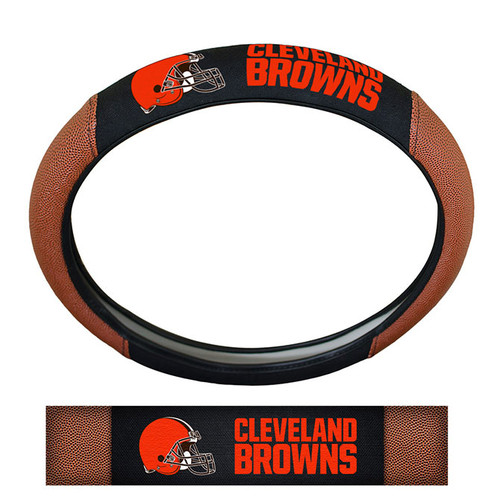Cleveland Browns Steering Wheel Cover Premium Pigskin Style