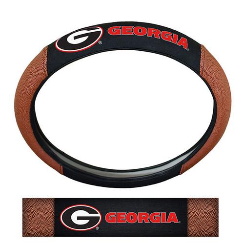 Georgia Bulldogs Steering Wheel Cover Premium Pigskin Style
