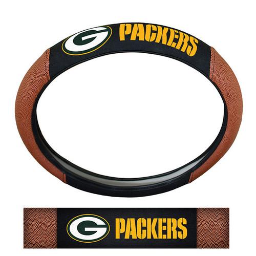 Green Bay Packers Steering Wheel Cover Premium Pigskin Style