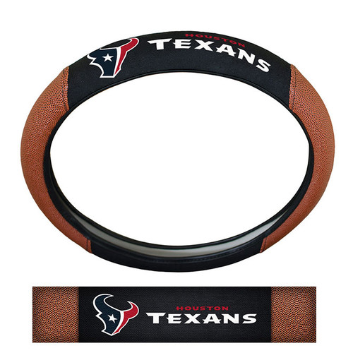 Houston Texans Steering Wheel Cover Premium Pigskin Style