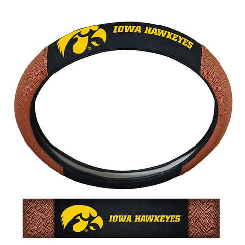 Iowa Hawkeyes Steering Wheel Cover Premium Pigskin Style