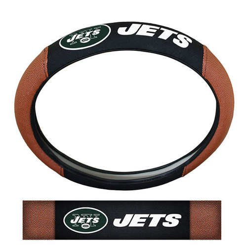 New York Jets Steering Wheel Cover Premium Pigskin Style