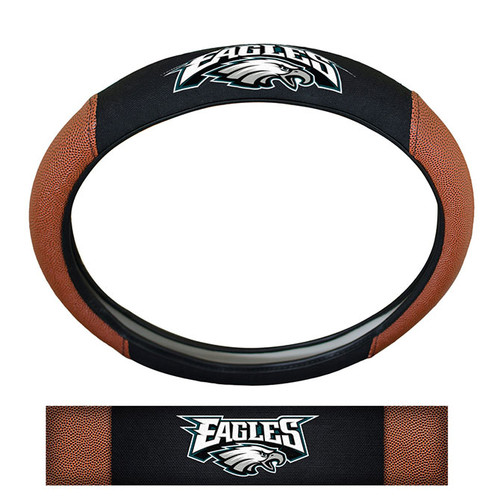 Philadelphia Eagles Steering Wheel Cover Premium Pigskin Style