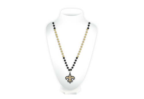 New Orleans Saints Beads with Medallion Mardi Gras Style