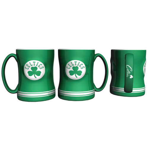Boston Celtics Coffee Mug 14oz Sculpted Relief New