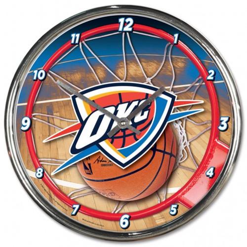 Oklahoma City Thunder Clock Round Wall Style Chrome
