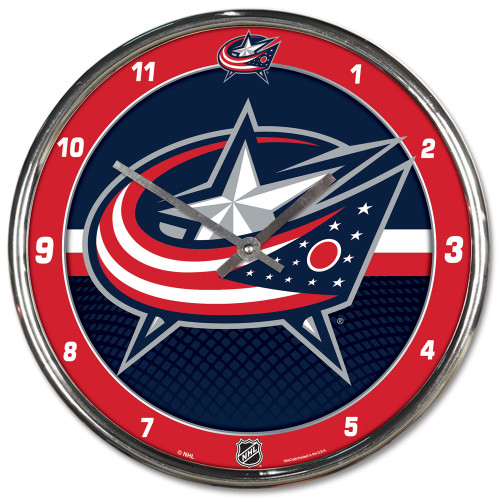 Columbus Blue Jackets Clock Round Wall Style Chrome