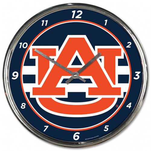Auburn Tigers Clock Round Wall Style Chrome