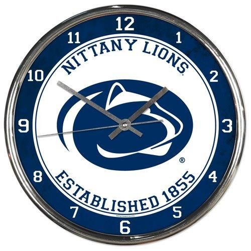 Penn State Nittany Lions Clock Round Wall Style Chrome