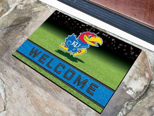 Kansas Jayhawks Door Mat 18x30 Welcome Crumb Rubber