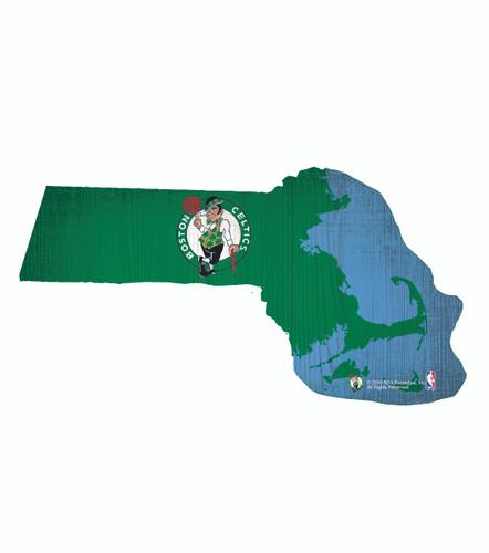 Boston Celtics Sign Wood 12 Inch Team Color State Shape Design
