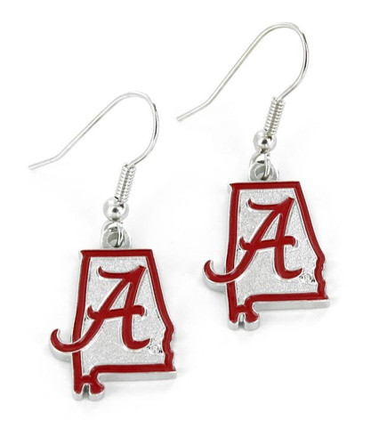Alabama Crimson Tide Earrings State Design
