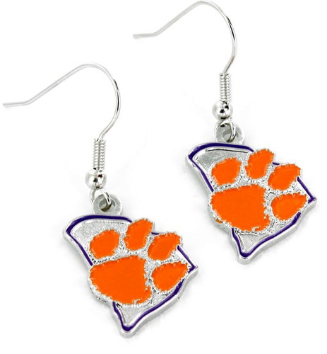 Clemson Tigers Earrings State Design
