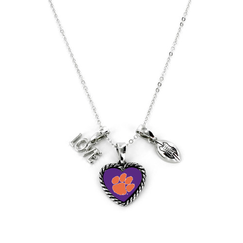 Clemson Tigers Necklace Charmed Sport Love Football