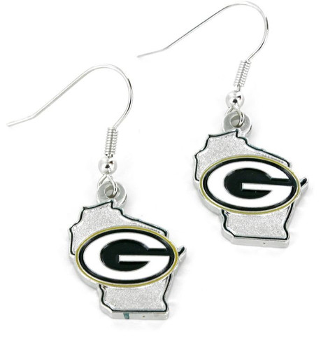 Green Bay Packers Earrings State Design