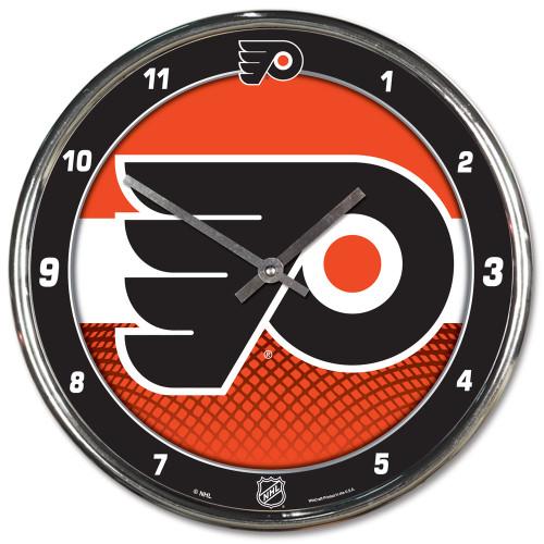 Philadelphia Flyers Clock Round Wall Style Chrome