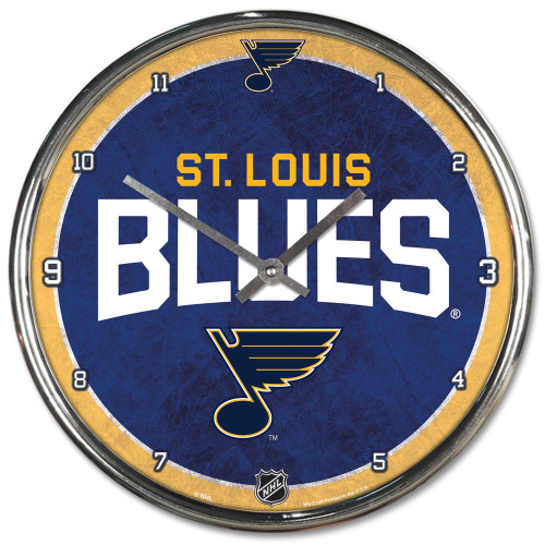 St. Louis Blues Clock Round Wall Style Chrome