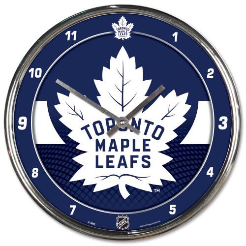 Toronto Maple Leafs Clock Round Wall Style Chrome