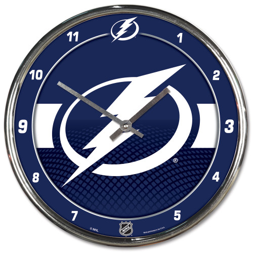 Tampa Bay Lightning Clock Round Wall Style Chrome