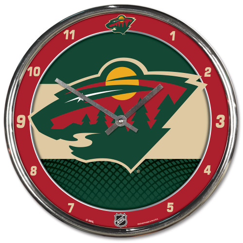 Minnesota Wild Clock Round Wall Style Chrome