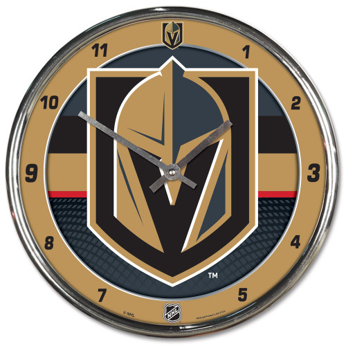 Vegas Golden Knights Clock Round Wall Style Chrome