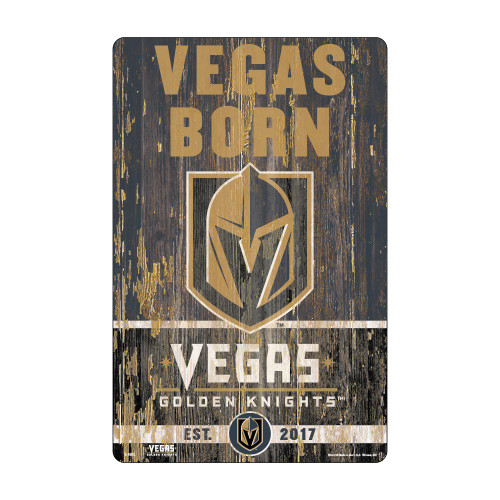 Vegas Golden Knights Sign 11x17 Wood Slogan Design