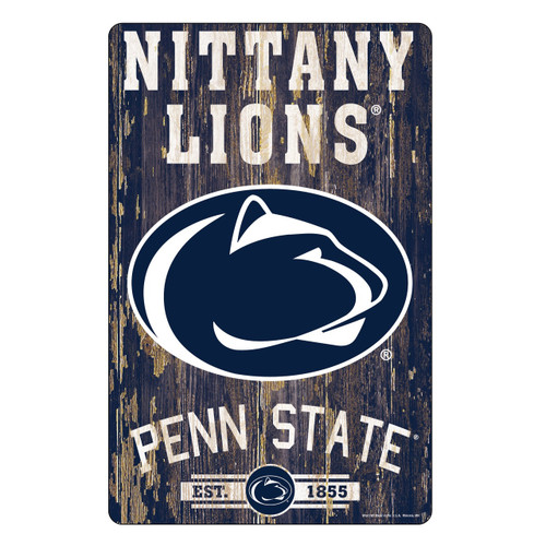 Penn State Nittany Lions Sign 11x17 Wood Slogan Design