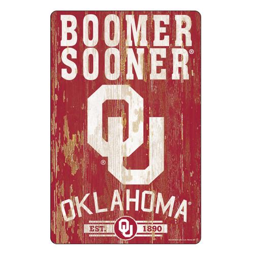 Oklahoma Sooners Sign 11x17 Wood Slogan Design