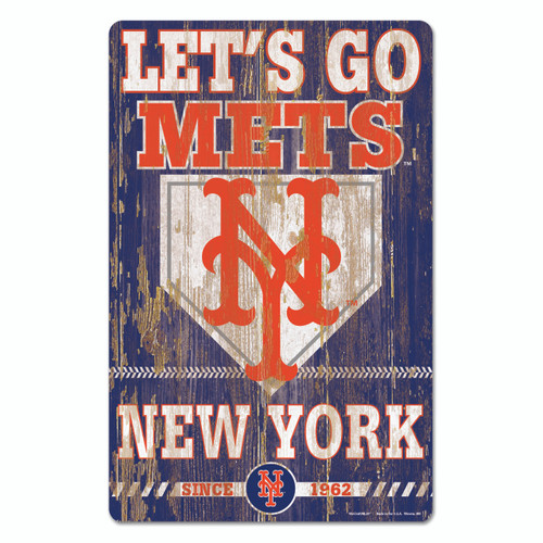 New York Mets Sign 11x17 Wood Slogan Design