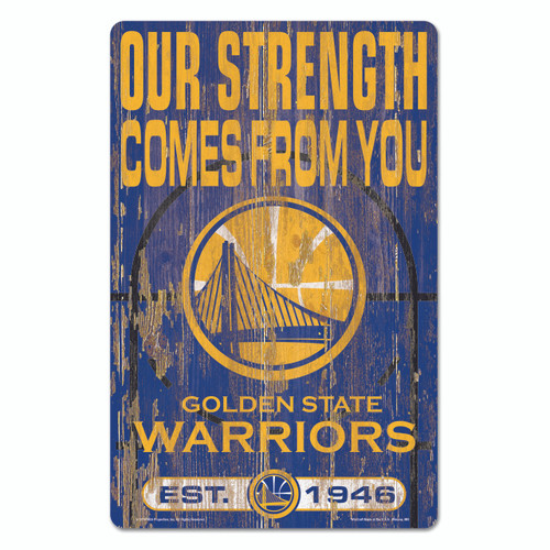 Golden State Warriors Sign 11x17 Wood Slogan Design