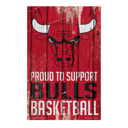 Chicago Bulls Sign 11x17 Wood Proud to Support Design