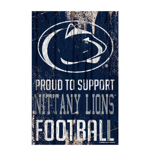 Penn State Nittany Lions Sign 11x17 Wood Proud to Support Design